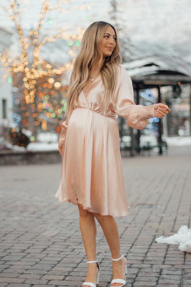 Winter Rosé Satin Dress - RESTOCK