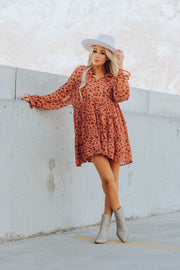 Reese Floral Dress in Rust
