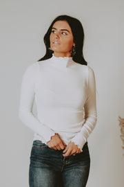 Everyday Ribbed Mock Neck Top in White - RESTOCK