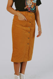 Heather Corduroy Midi Skirt