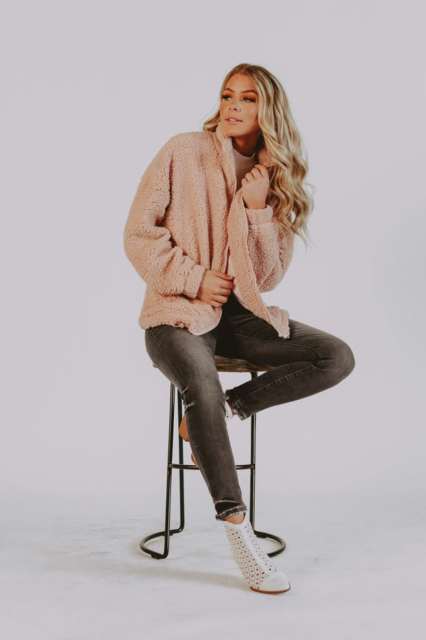 Bronte Sherpa Jacket in Blush
