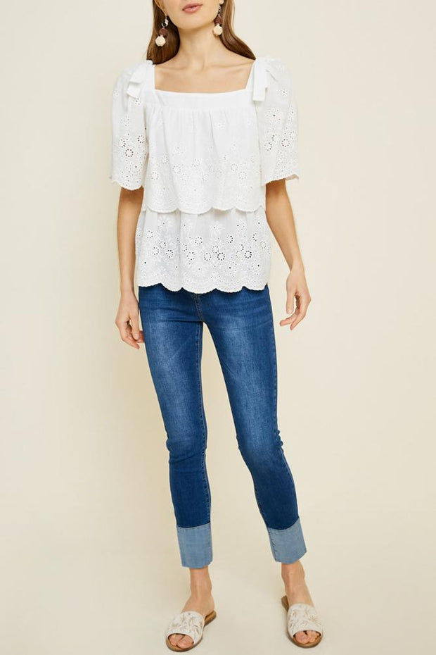 Nadia Eyelet Blouse in White