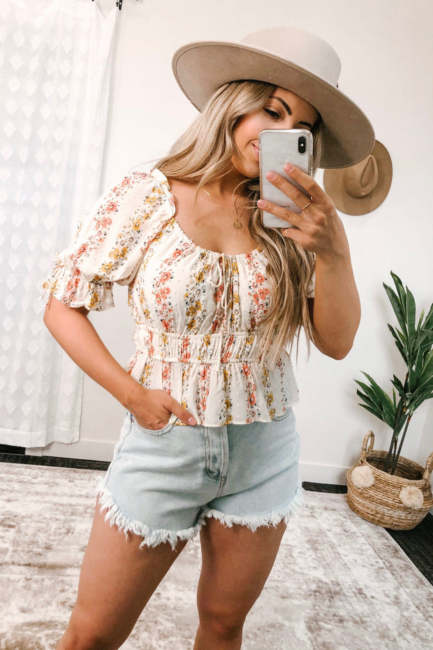 Fawn Floral Top