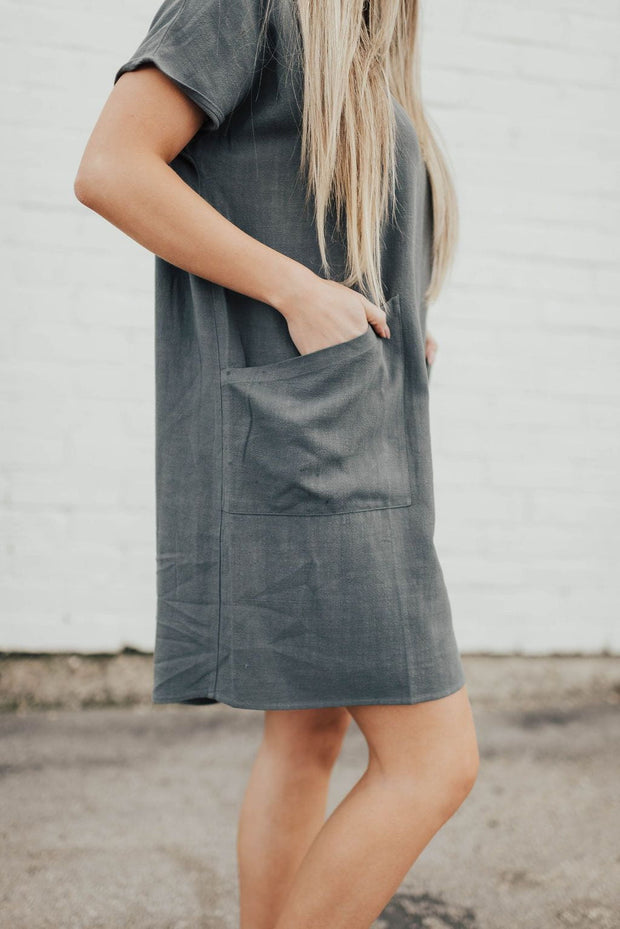 Lena Linen Dress in Charcoal Blue