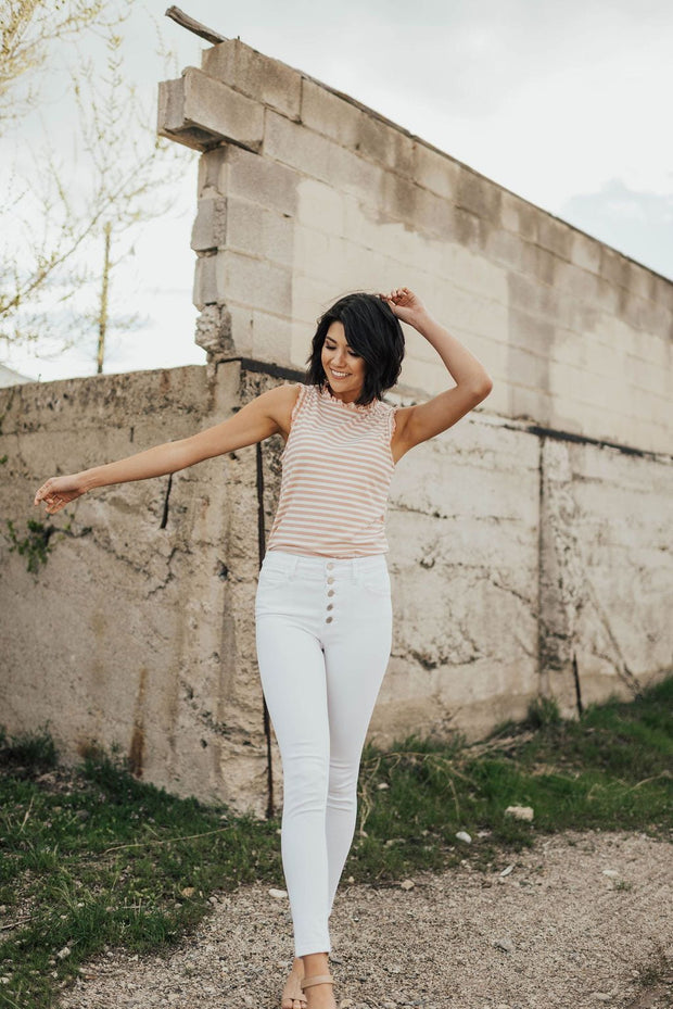 Sicily White High-Waisted Skinny Jeans