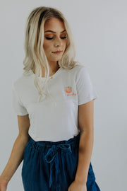 Peachy Tee in White