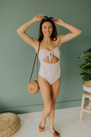 Takin' Time Swimsuit in Dotted Blush