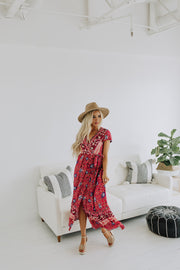 Flower Festival Maxi Dress in Red