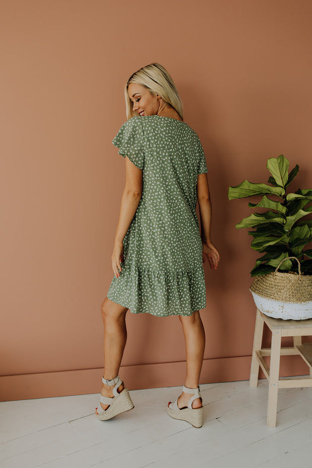 Lala Spotted Dress in Sage - RESTOCK