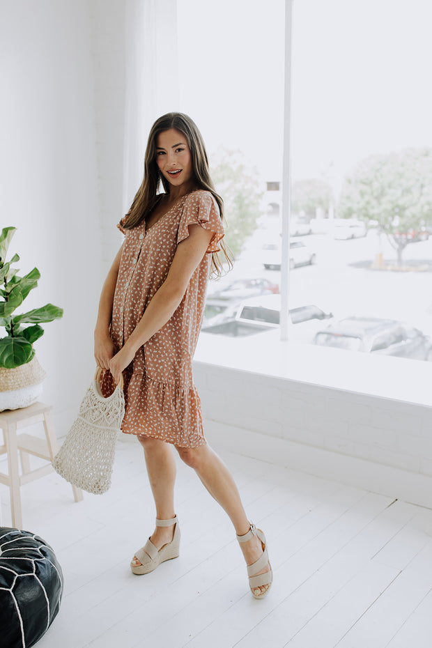 Lala Spotted Dress in Terra Cotta - RESTOCK