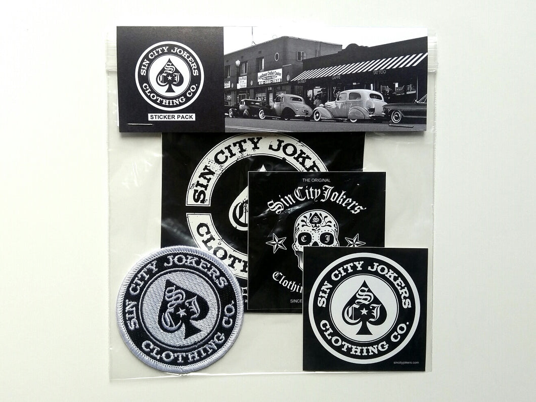 Sin City Jokers Patch and  Stickers Pack