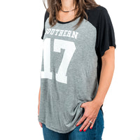 Sporty Southern Colorblock Round Hem Modal Tee