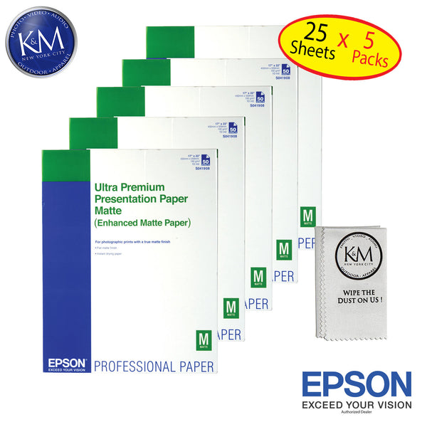 "Epson Ultra Premium Presentation Matte 17""x22"" 50 Sheets - 5 Pack"