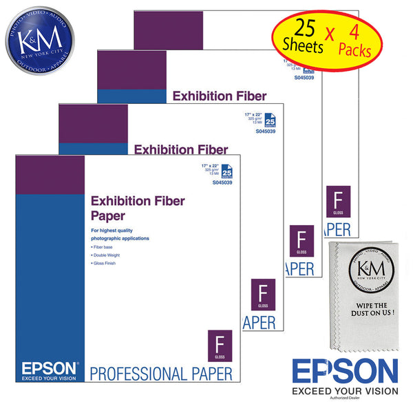 "Epson Exhiition Fier Paper 17""x22"" 25 Sheets - 4 Pack"