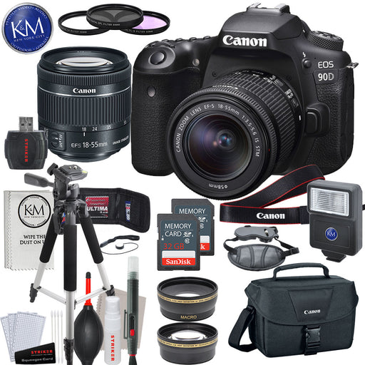 Canon EOS 90D DSLR Camera with 18-55mm Lens with Deluxe Striker Bundle: Includes – Memory Card x 2, Large Tripod, Slave Flash, 58mm Lens Kit, Hand Strap, Camera Bag, and Cleaning Kit.