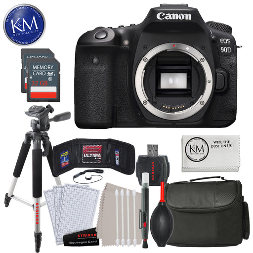 Canon EOS 90D DSLR Camera (Body Only) with 32GB & Essential Striker Bundle: Includes – Large Tripod, Large Camera Bag, and Striker Cleaning Kits.