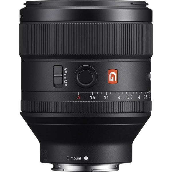 Sony FE 85mm f/1.4 GM Lens with Advance Striker Bundle: Includes – SD Card Reader, 3pc Filter Set, Cleaning Kit, Large Monopod, and Lens Pouch.