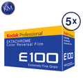 5 Pack of Kodak Professional Ektachrome E100 Color Film (35mm, 36 Exposures)