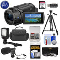 Sony FDR-AX43 UHD 4K Handycam Camcorder + LED Light + Mic + Case + Filter Set + Tripod + More!
