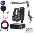 Audio Technica AT2020PK Streaming/Podcasting Pack with Pop Filter and USB Audio Interface: Includes – AT2020 Microphone, ATH-M20x Headphones and Adjustable Studio Boom Arm