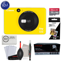 Canon IVY CLIQ Instant Camera (Bumblebee Yellow) w/ Essential Instant Cam Bundle