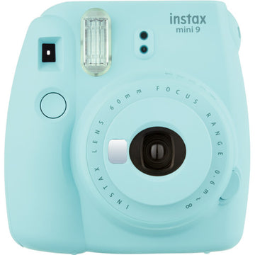 FUJIFILM INSTAX Mini 9 Instant Film Camera (Ice Blue) with Memories Bundle: Includes – 30 FRESH Exposures, Magnetic Glitter Pegs, Hanging Wooden Holder, 20 Frame Stickers, and a photo album