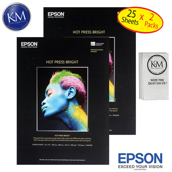 "Epson Hot Press right 13""x19"" 25 Sheets - 2 Pack"
