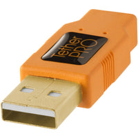 Tether Tools TetherPro USB 2.0 Type-A to 5-Pin Mini-USB Cable - Orange, 15'