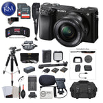 Sony Alpha a6100 Mirrorless Digital Camera with 16-50mm Lens with Premium Bundle: Includes – Tripod, Flash, Lens Filters, and Microphone