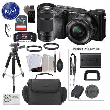 Sony Alpha a6100 Mirrorless Digital Camera with 16-50mm Lens and 55-210mm Lenses + 32 GB Card + 50 Inch Tripod + Cleaning Kit + Gadget Bag