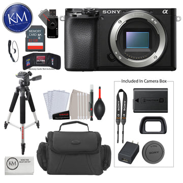 SONY a6100/B (Body Only) + 32 GB Card + 50 Inch Tripod + Cleaning Kit + Gadget Bag