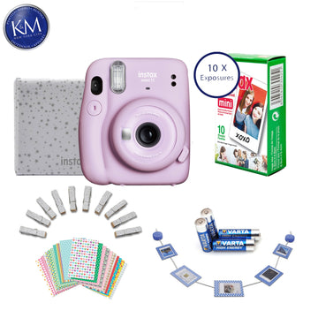 FUJIFILM INSTAX Mini 11 Instant Film Camera (Lilac Purple) + 10 FRESH Exposures + AA Batteries + Glitter Pegs + Frame Stickers + Wood Photo Holder + Photo Album