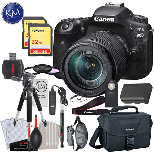 Canon EOS 90D DSLR Camera with 18-135mm Lens with Deluxe Striker Bundle: Includes- Memory Card, Extra Battery, Large Tripod, Handstrap, Large Bag, and Striker Starter Kit