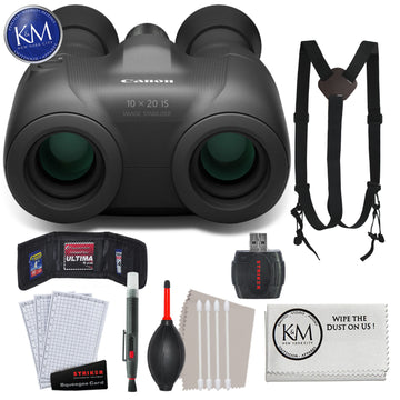 Canon Binocular 10x20 IS with Essential Striker Bundle: Includes – Harness Strap, Striker Starter Kit, and Micro-Fiber Wipe.