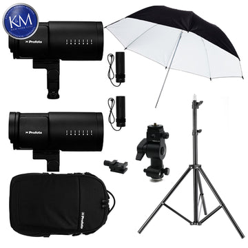 Profoto B10 Plus OCF Flash Duo Kit w/ Umbrella, Lightstand and Swivel Bundle