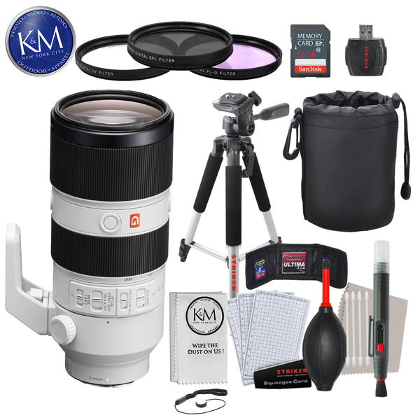 Sony FE 70-200mm f/2.8 GM OSS Lens with Advance Striker Bundle: Includes – SD Card Reader, 3pc Filter Set, Cleaning Kit, Large Monopod, and Lens Pouch.