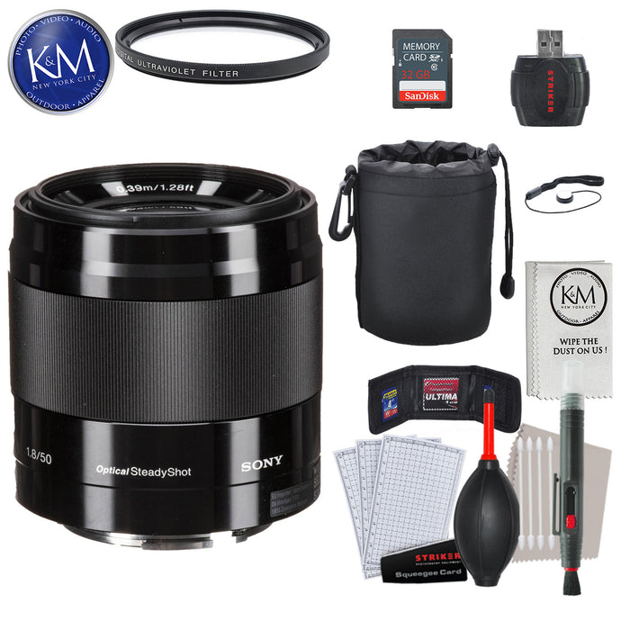 Sony 50mm f/1.8 Normal E-Mount Lens - Black with Essential Striker Bundle: Includes – SD Card Reader, UV Filter, Cleaning Kit, and Lens Pouch.