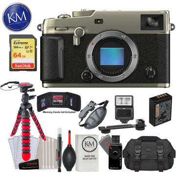 Fujifilm X-Pro3 Mirrorless Digital Camera (Body Only, Dura Silver) with 64GB Extreme SD Card, DSLR Gadget Bag, Flexible Tripod, Hand Strap, Cleaning Kit