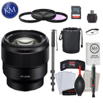 Sony FE 85mm f/1.8 Lens with Advance Striker Bundle: Includes – SD Card Reader, 3pc Filter Set, Cleaning Kit, Large Monopod, and Lens Pouch.
