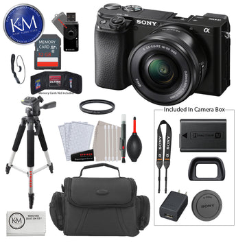 Sony Alpha a6100 Mirrorless Digital Camera with 16-50mm Lens + 32 GB Card + 50 Inch Tripod + Cleaning Kit + Gadget Bag