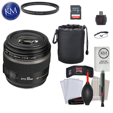 Canon EF-S 60mm f/2.8 Macro USM Lens with Essential Striker Bundle: Includes – SD Card Reader, UV Filter, Cleaning Kit, and Lens Pouch.
