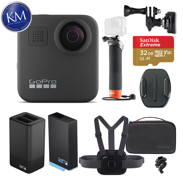 GoPro Max 360 Action Camera with Sports Kit + Handler + Dual Charger + Helmet Front Mount