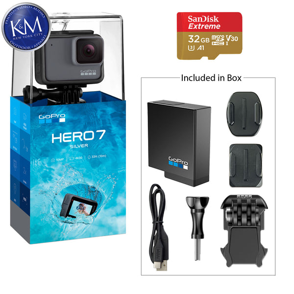 GoPro HERO7 Silver Action Camera w/ 32 GB Micro Memory Card