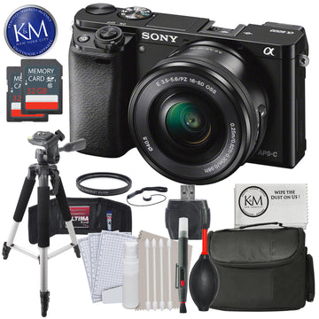 Sony a6000 Mirrorless Camera (Black) w/16-50mm Lens and Advanced Striker Bundle