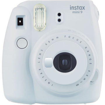 FUJIFILM INSTAX Mini 9 Instant Film Camera (Smokey White) with Memories Bundle: Includes – 30 FRESH Exposures, Magnetic Glitter Pegs, Hanging Wooden Holder, 20 Frame Stickers, and a photo album