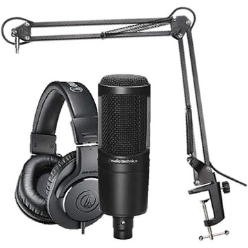 Audio Technica AT2020PK Streaming/Podcasting Pack with Pop Filter, Portable Headphone Amplifier and USB Audio Interface: Includes – AT2020 Microphone, ATH-M20x Headphones and Studio Boom Arm