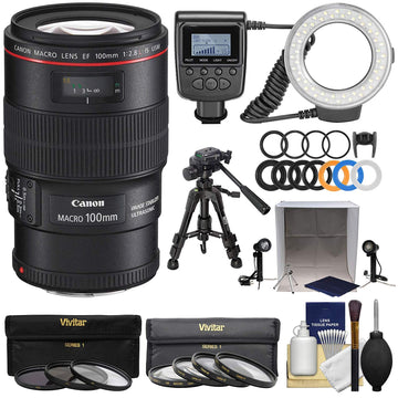 Canon EF 100mm f/2.8 L IS Macro USM Lens + Ring Light + Tripod + Portable Light Box Set + 3 UV/CPL/ND8 + 4 Macro Filters + Cleaning Kit
