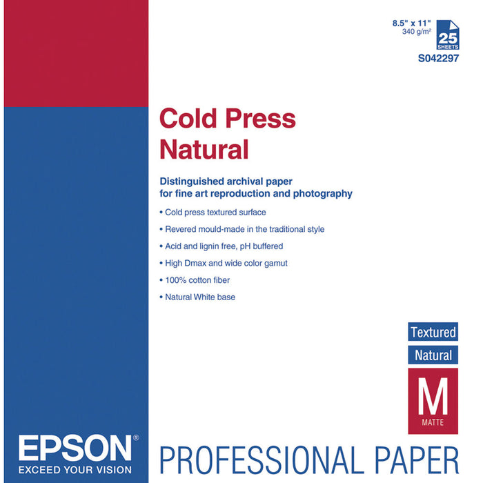 "Epson Cold Press Natural Matte Inkjet Photo Paper 8.5 x 11"" - 25 Sheets"