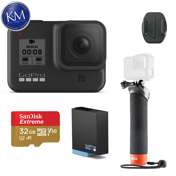 GoPro HERO8 Black Action Camera w/Extra Battery and GoPro The Handler Floating Hand Grip and 32GB Memory Card