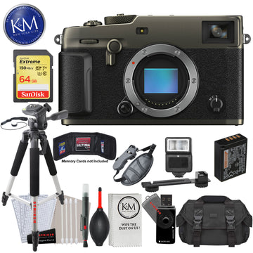 Fujifilm X-Pro3 Mirrorless Digital Camera (Body Only, Dura Black) with 64GB Extreme SD Card, DSLR Gadget Bag, Large Tripod, Hand Strap, Cleaning Kit